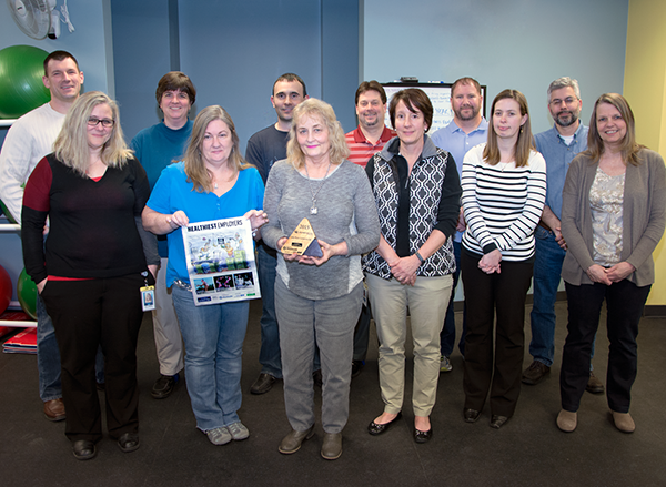 Lake Shore Wellness Committee members with the 2015 Healthiest Employer award.
