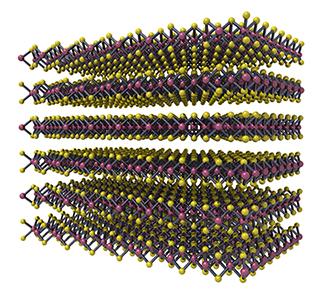 3d render of molecular structure of molybdenum disulphide